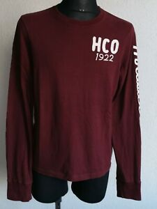 Hollister California mens cotton long sleeve dark claret T-shirt size M