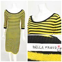 Womens Bella Freud Jumper Dress Yellow Black Striped Short Sleeve Size S