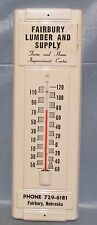"""New listing Fairbury Neb. Lumber And Supply metalThermometer advertising display sign 14"""""""