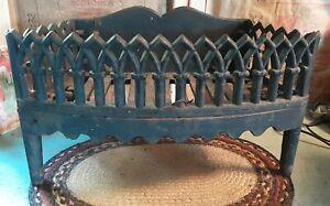 Ornate Gorgeous ANTIQUE CAST IRON FIREPLACE WOOD GRATE BOX LOG HOLDER INSERT