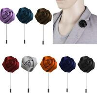 Lapel Silk Rose Flower Handmade Boutonniere Stick Brooch Pin Wedding Tuxedo Gift