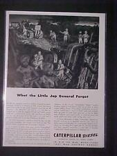 VINTAGE MILITARY CATERPILLAR BULLDOZER ARMY WAR PRINT AD~ORIG ANTIQUE WWII 1943