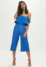 Bnwt Womens Ladies Missguided Bandeau Bardot Frill Cobalt Blue Jumpsuit Dress 14