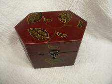 WOODEN TRINKET BOX WITH HAND PAINTED LEAVES, SLIP LID DEVICE, EXCELLENT