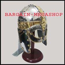 Viking Mask Helmet With Chainmail Medieval Armour Reenactment Sca Larp Helmet