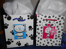 Twelve printed Paper Gift Bags 6 Paw Prints and 6 flowers  New 4 1/2 x 5 1/2