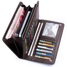 Leather Wallet  ID Card Holder Zip Purse Clutch Checkbook Billfold  for men gift