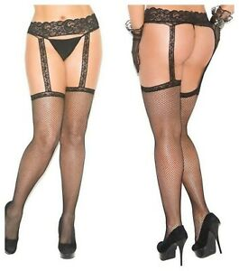 FISHNET THIGH HIGHS STOCKINGS WITH ATTACHED LACE GARTER BELT OS & QN SIZE