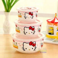 New Cute 3 PCS Hello Kitty Ceramic Food Rice Bowl Storage Containers Set w/lids