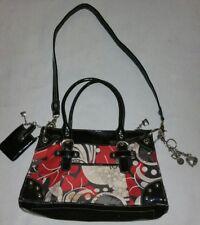 Kathy Van Zeeland Black & Red Satin Large Purse Shoulder bag & Keychain