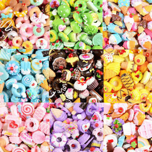 10Pcs Flatback Resin Doughnut Cookies Cake Food Cabochons Charms DIY Filler Toy