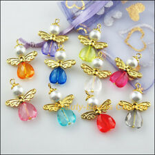 10Pcs Gold Plated Wings Mixed Heart Dancing Angel Charms Pendants 22x30mm