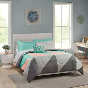 Geo Colorblock 8-pc Full Bed in a Bag Bedding Set w Sheet Set Pillow Grey & Teal