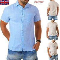Mens Cotton Linen T Shirts Solid Color Summer Short Sleeve Male Tops Blouse