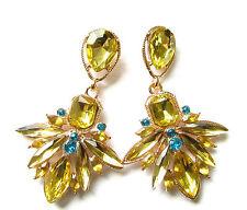 Gold Blue Art Deco Drop Stud Earrings Vintage Style 1920s Flapper Prom 1930s 2AN