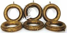 "Kirsch 6x Rings Ridged Gold/Black Wood for 50mm (5cm) 2"" Diameter Curtain Pole"