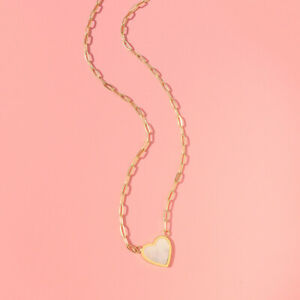 Woman 18K Gold Plated Stainless Steel Mother of Pearl Heart Charm Rolo Chain