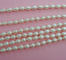 5MM White Oval Tear Drop Freshwater Pearls AAA Strand 38CM
