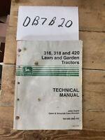 JOHN DEERE 316 318 320 LAWN TRACTOR TECHNICAL SERVICE REPAIR MANUAL TM-1590