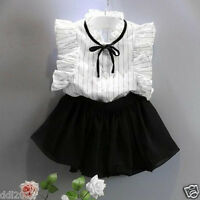 Kid Girls Dresses Stripe Blouse Tops+Chiffon Culottes 2PC+Summer Clothes Outfits