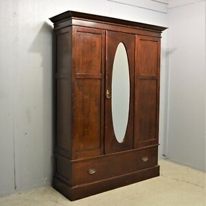 Dark Antique Wardrobe with Drawer and mirror mahogany delivery available