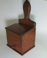 Antique Primitive American Dovetailed Cherry Hanging Lift Top Salt Box w/ Drawer
