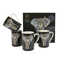 Set Of 4 China Mugs By Bug Art - Elephant Mug - Gift Boxed - Fine China Cups