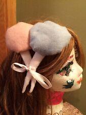 Handmade cotton candy floss felt hair clip piece pink blue Lolita gothic fair