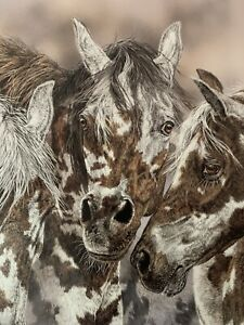 """""""Packherd"""" by Judy Larson #1026 / 2950. Horses and wolfs"""