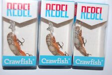 3 lures rebel deep teeny wee crawfish dives 5' crayfish crankbait ditch / brown