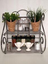 Vintage Style French Grey Kitchen Shelf Unit Storage Spice Rack Metal Display