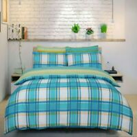 Duvet Cover Set - King Size Teal Checked Bedset Cotton Polyester Bedding Set