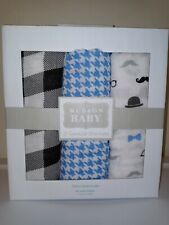cotton muslin Hudson Baby infant swaddle receiving blanket set plaid bow tie NEW