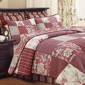 Stockwood Red Real Patchwork 100%Cotton 3-Piece Quilt Set, Bedspread, Coverlet