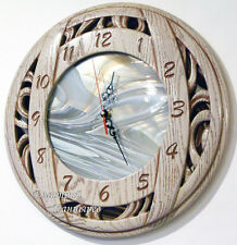 Wall clocks round modern decor light stained glass white carved wood oak new ART