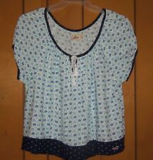 HOLLISTER Baggie Baby Doll Top Pleated Blue & White Floral Print Juniors Size L