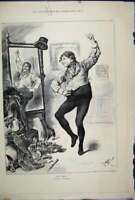Original Old Antique Print 1892 Man Dancing Mirror Fancy Dress Ball Victorian