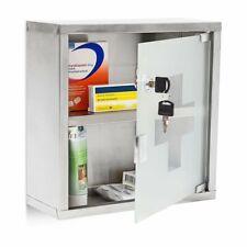 Metal Wall Mounted Lockable Medicine Cabinet Cupboard First Aid Box Glass Door