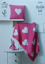 KNITTING PATTERN Baby Heart Blanket and Cushion DK King Cole 3982