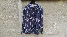 Gianni Versace Men's Vintage Silk Blue Camouflage Print Shirt size 46 (M)