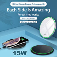 15W / 10W Fast Qi Glass Wireless Charger For Huawei P30 Pro Samsung  Charger