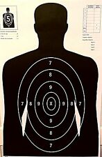 Paper Shooting Targets Black Silhouette Gun Pistol Rifle B27 W/Arms Qty:50 23x35