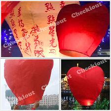 20 RED HEART Chinese Flying Sky Paper Kongming Floating Wishing Lantern Wedding