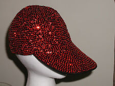 RED SEQUIN BASEBALL HAT CAP CHRISTMAS OR SCHOOL TEAM COLOR HAT SOCIETY NEW