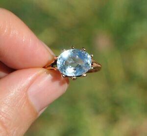 VTG 14K SOLID GOLD NATURAL AQUAMARINE RING ICE BLUE GEM OVAL SOLITAIRE LARGE BIG