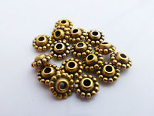 40 x Tibetan Style Round Dotted Spacer Beads 9mm x 5mm Antique Gold NF (MBX0024)