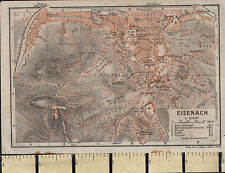 1925 GERMAN MAP ~ EISENACH CITY PLAN ENVIRONS GARDENS WARTBURG CHURCHES