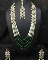 Indian Pearl Necklace Earrings Ethnic Wedding Gold Plated Fashion Jewelry Set