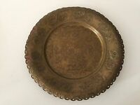 "Vintage India Detail Hand Engraved Brass Plate, 9 1/2"" Diameter"