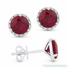 2.30ct Round Cut Lab-Made Ruby & Diamond Martini Stud Earrings in 14k White Gold
